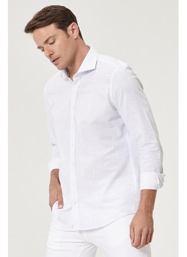 Beymen Business 4B2019200057 Slim Fit Gömlek Baskılı Mavi